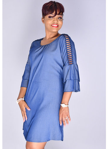MLLE Gabrielle WYNTER- Shimmery Round Neck 3/4 Sleeve Dress