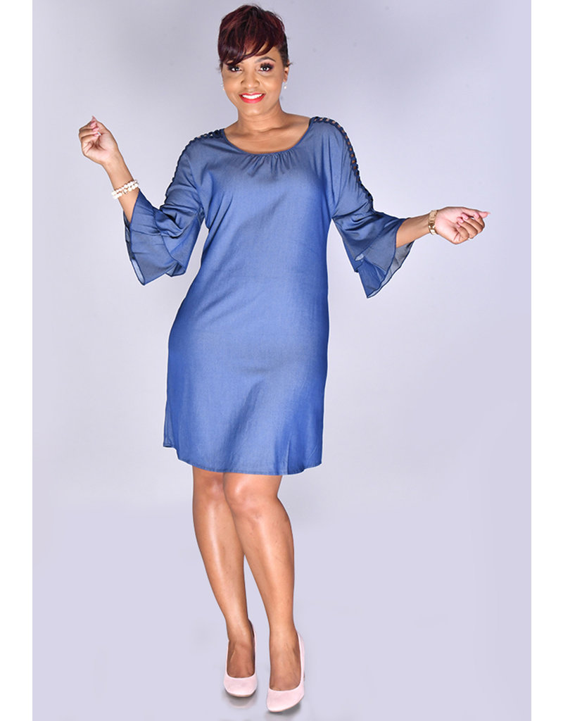 MLLE Gabrielle WYNTER- Shimmery Round Neck 3/4 Sleeve Dress