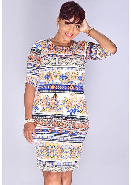 UDANTIKA-Printed 3/4 Sleeve Dress