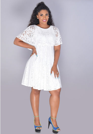 GLAMOUR LEKIA- Glitter Cape Lace Dress