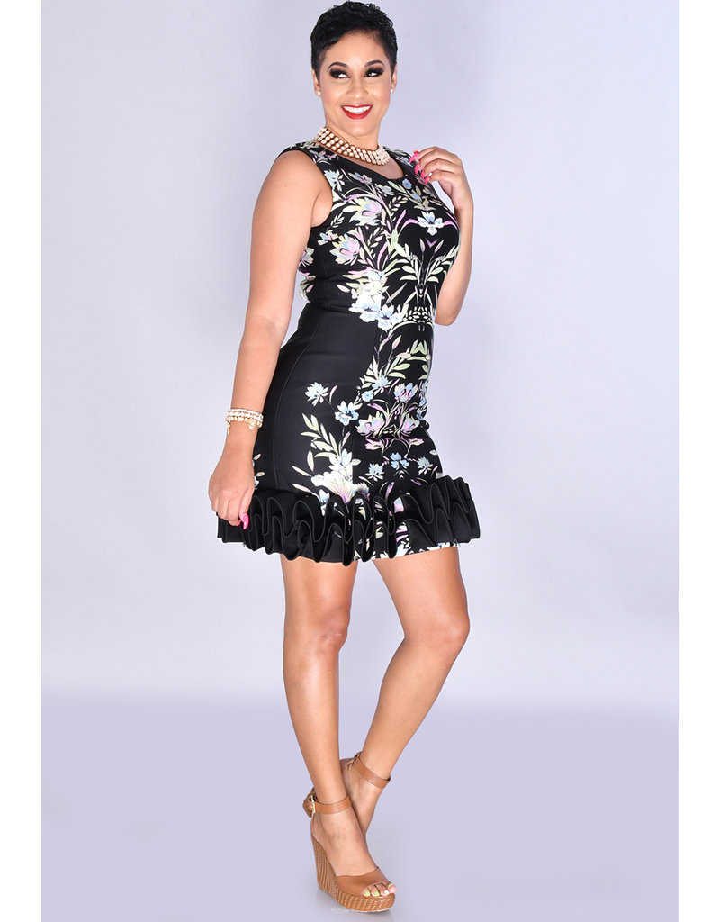 UKINDRA- Placement Print Sleeveless Ruffle Trim Dress