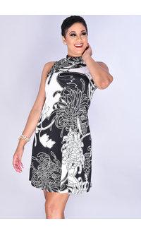 Signature IDECCA- Puff Print Mock Neck Shift Dress