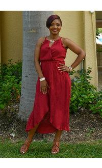 GIACOMA- Keyhole Faux Wrap Hi-Lo Dress