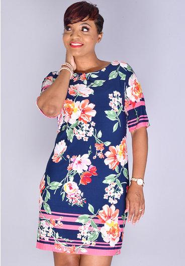 IDOLA- Floral Puff Print 1/2 Sleeve Dress