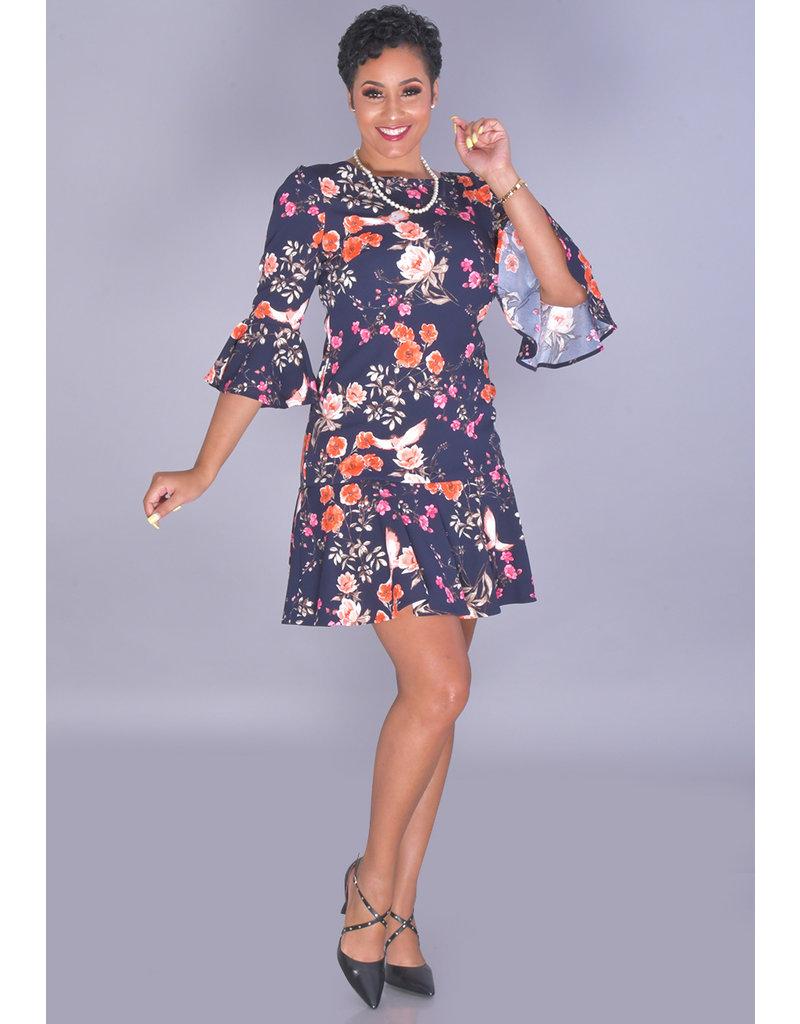 Eliza J RAKSITA- Floral Low Back 3/4 Trumpet Sleeve Dress