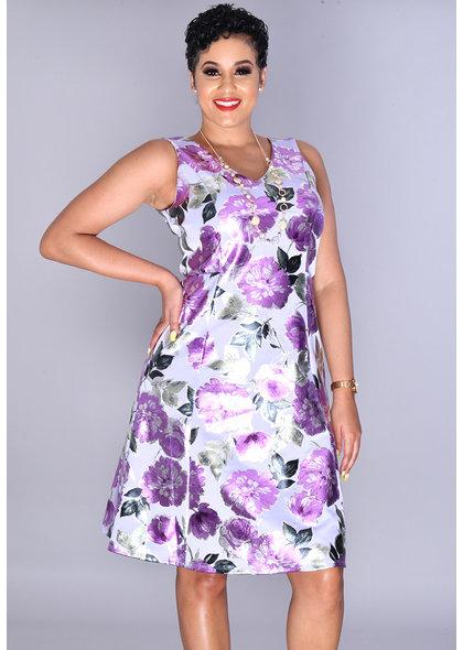 GLAMOUR UDORMA- Floral Foil V Neck Dress