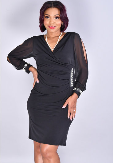 GLAMOUR IDEVI- Crossover Long Sleeve Dress with Pearls