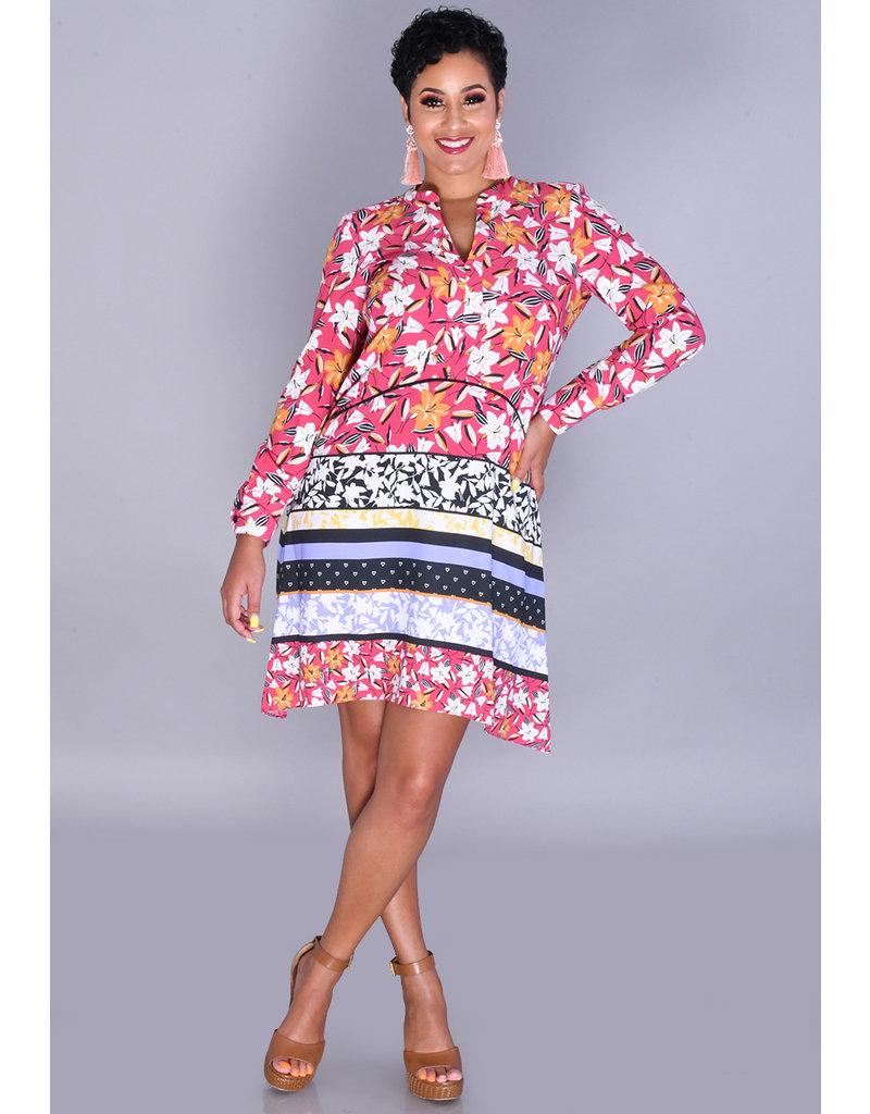 RAKANA- Printed V-Split Henley Long Sleeve Dress