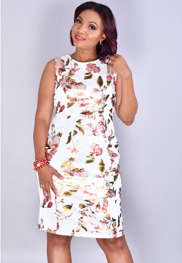 Olivia Matthews UDENA- Floral Foil Print Round Neck Dress