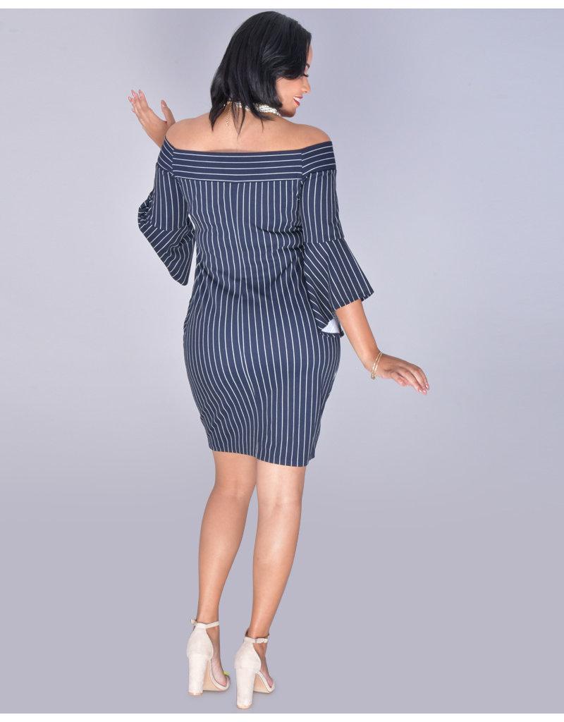 Bebe RYLAN- Off Shoulder Drama Sleeve Sheath Dress
