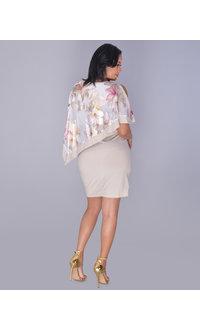 INDRELA- Asymmetrical Floral Foil Cape Dress