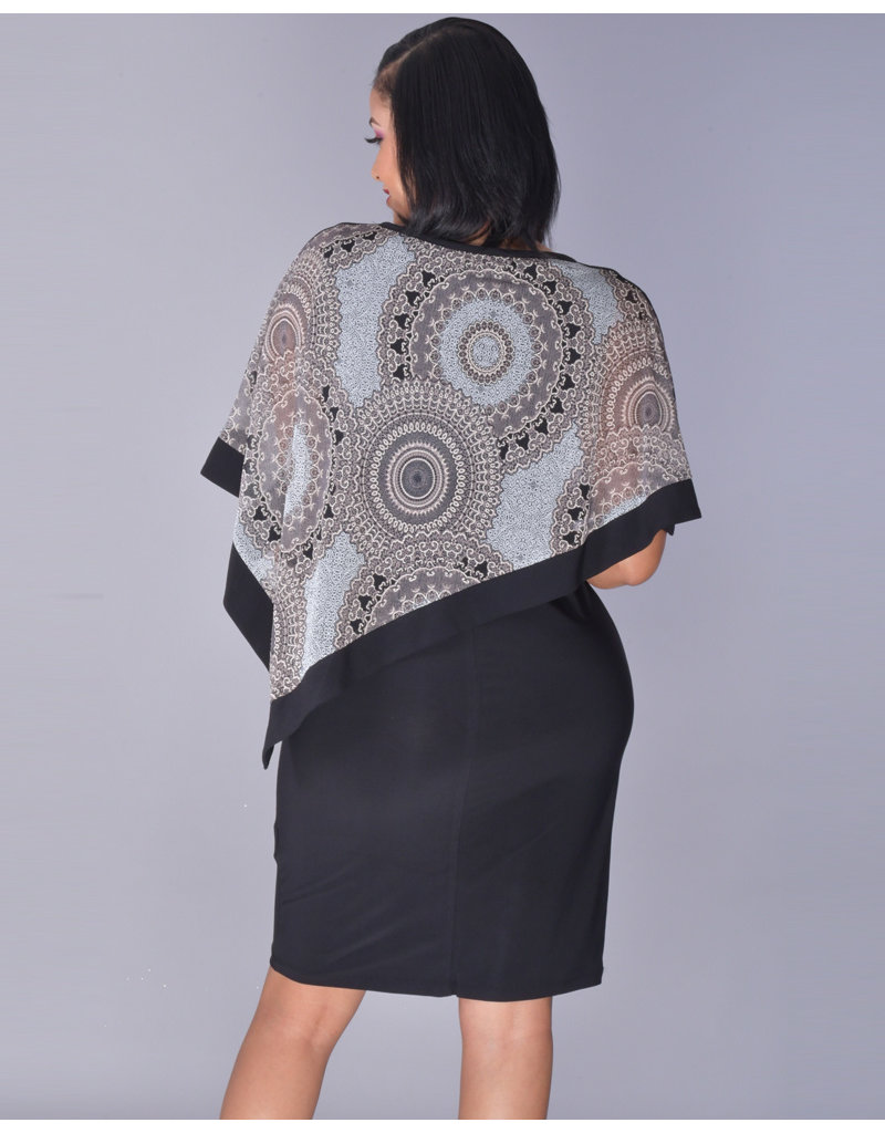 INDRELA- Asymmetrical Floral Foil Cape Dress