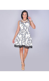 UZMA- Sweetheart Neck Lace Hem Dress