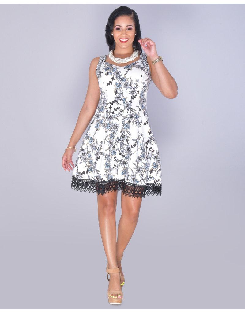 UZMA- Sweetheart Neck Lace Hem Dress