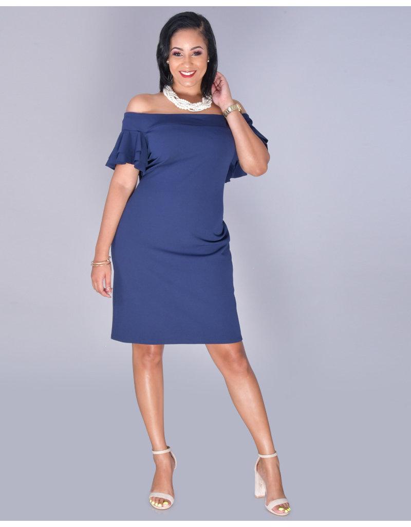 Bebe RYLEAH- Off Shoulder Bell Sleeve Dress
