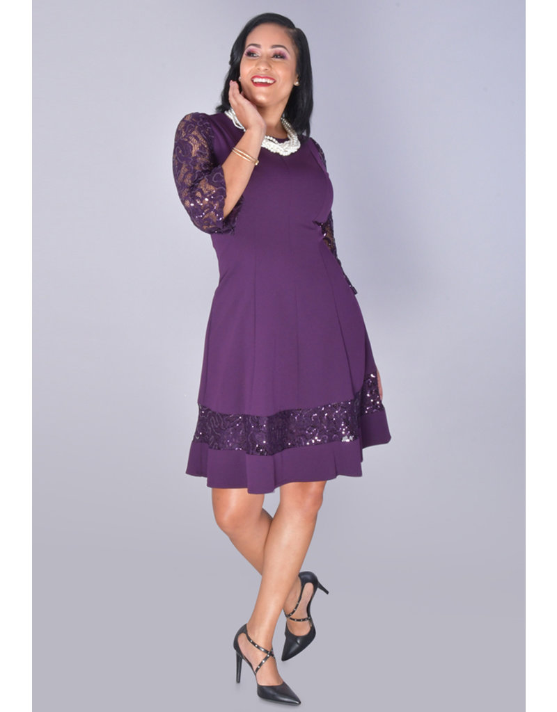 RIJUTA- Fit and Flare Dress with Sequined Lace Sleeves