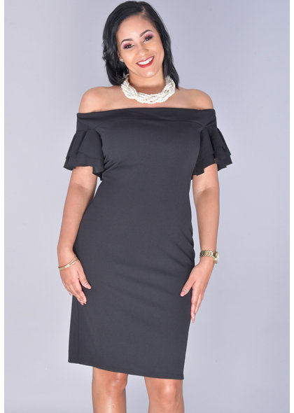 Bebe RYLEAH- Off Shoulder Bell Sleeve Dress
