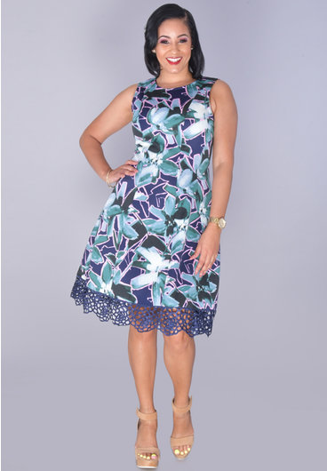 UDARLA- Printed Scuba Lace Hem Dress