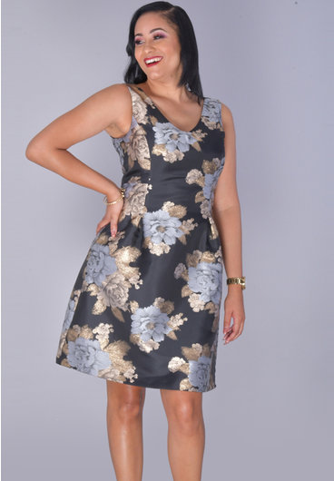 SONALI- Glitter Floral Sleeveless Dress