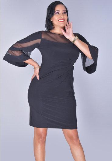 YATIRA- Illusion Bell Sleeve Dress