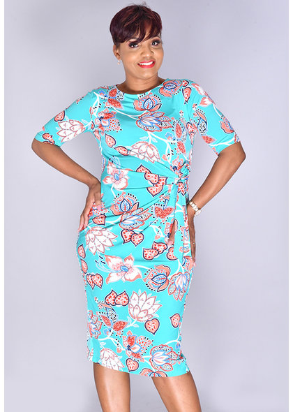 Shelby & Palmer IDERONA- Floral Puff Print 1/2 Sleeve Dress