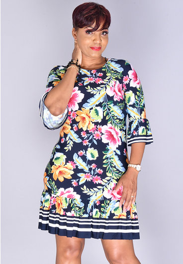 Eliza J ILANDA- Ruffle Hem 3/4 Sleeve Dress