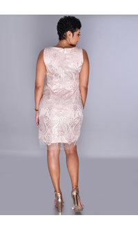SD Collection MARYLOU- Swirl Sequined Appliqué Dress
