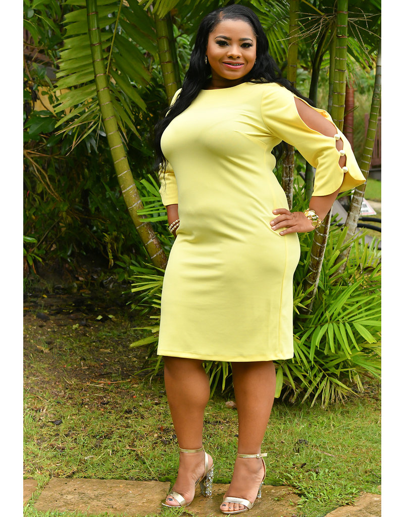 Shelby & Palmer ROKSANA-Plus Size Cold Shoulder Dress With Pearls