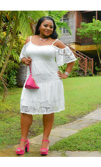 Signature GENESIS-Plus Size Off The Shoulder Lace Shift Dress