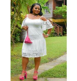 Signature GENESIS-Plus Size Off The Shoulder Lace Shift Dress
