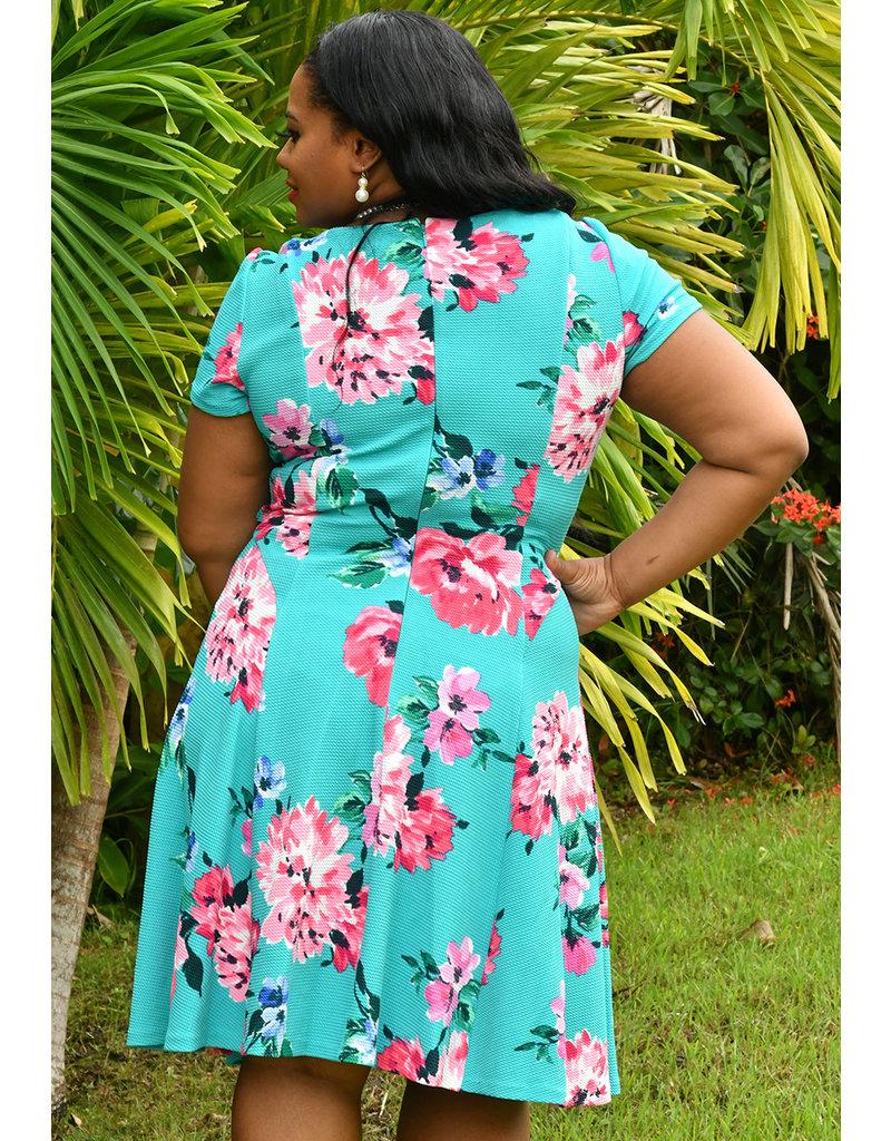 Jessica Howard BIANCA- Floral Puff Print Short Sleeve Dress