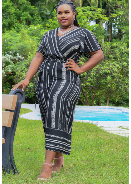 FEMI- Striped Crossover Short Sleeve Dress