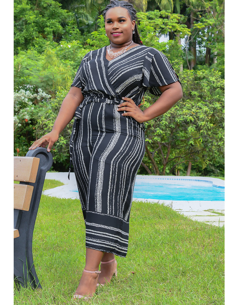FEMI- Striped Crossover Short Sleeve Jumper