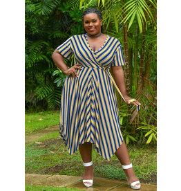 MLLE Gabrielle ILJA-Stripe Faux Wrap Short Sleeve Dress
