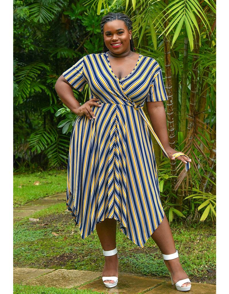 MLLE Gabrielle ILJA-Plus Size Stripe Faux Wrap Short Sleeve Dress