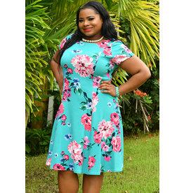Jessica Howard BIANCA- Plus Size Floral Puff Print Short Sleeve Dress