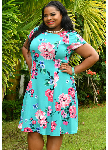 Jessica Howard BIANCA- Plus Size Floral Puff Print Short Sleeve Dress