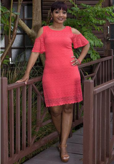 LUNA-Lace Overlay Cold Shoulder Dress