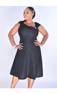 XYLEA- Glitter Off-The-Shoulder Fit & Flare Dress