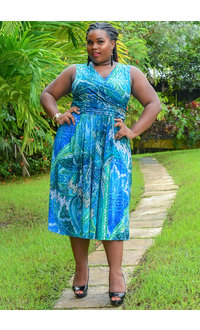 YACHU-Plus Size Long Printed Crossover Broad Strap Dress