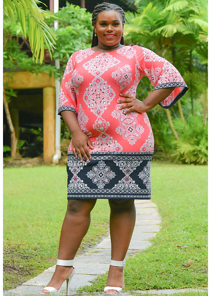 Sandra Darren YONEKO-Puff Print 2 Tone 3/4 Bell Sleeves