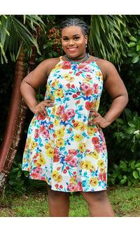 RUQAYA-Floral Print Square Neck Thin Strap Dress