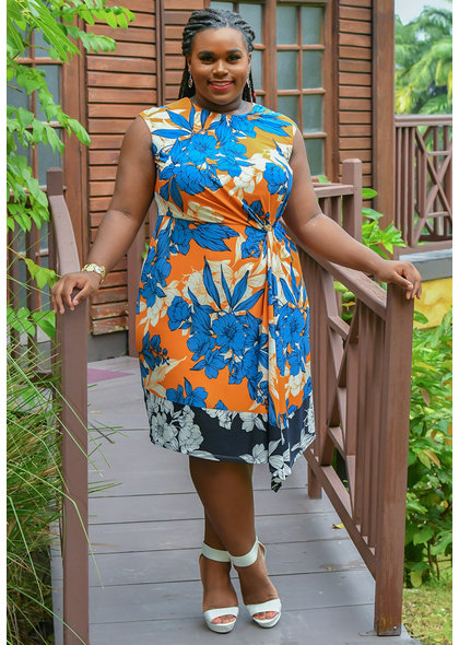 YUMI- Floral Print Cap Sleeve Dress