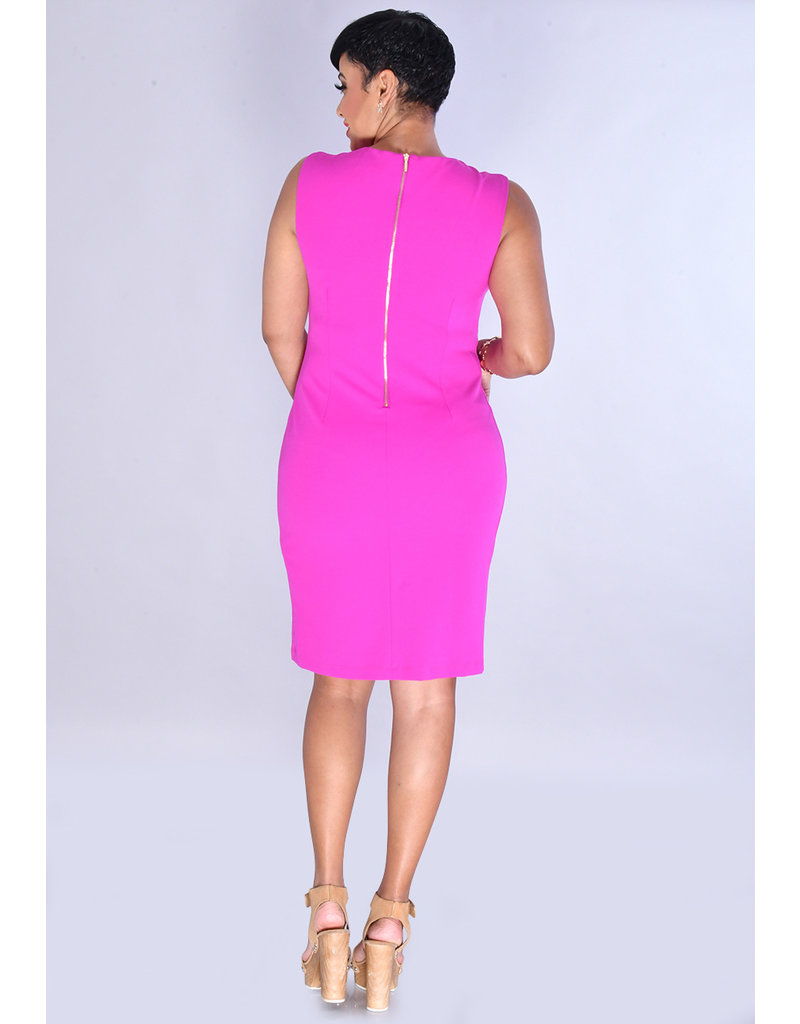 RIVKAH- Solid V-Neck Dress with  Key Hole & Chain