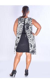 FAUSTINE- Puff Print  Asymmetrical Chiffon Overlay Dress