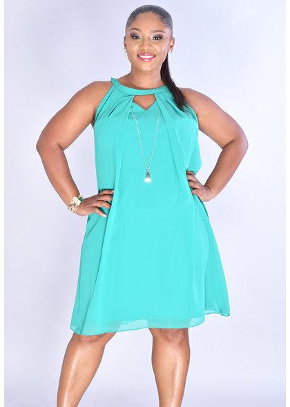 FERGALA- Hi-Neck V-Keyhole Dress with Charm