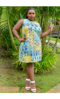 GAYLE-Plus Size Patch Work Print Broad Strap Dress