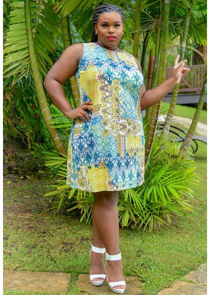 GAYLE- Patch Work Print Broad Strap Dress