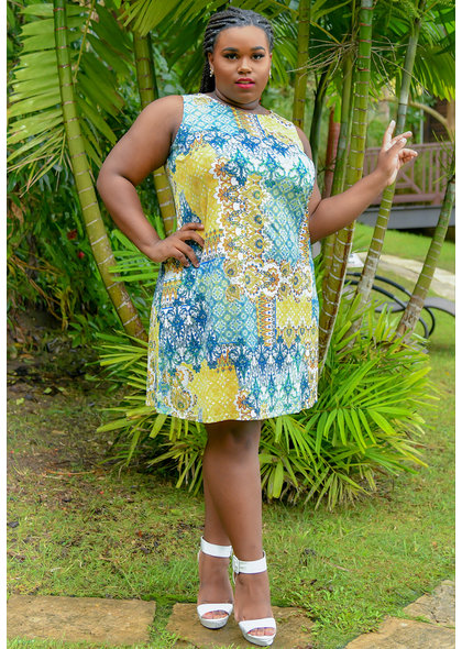 GAYLE- Plus Size Patch Work Print Broad Strap Dress