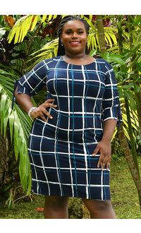 Sandra Darren YEMAYA- Puff Print Checkered 3/4 Sleeve Dress